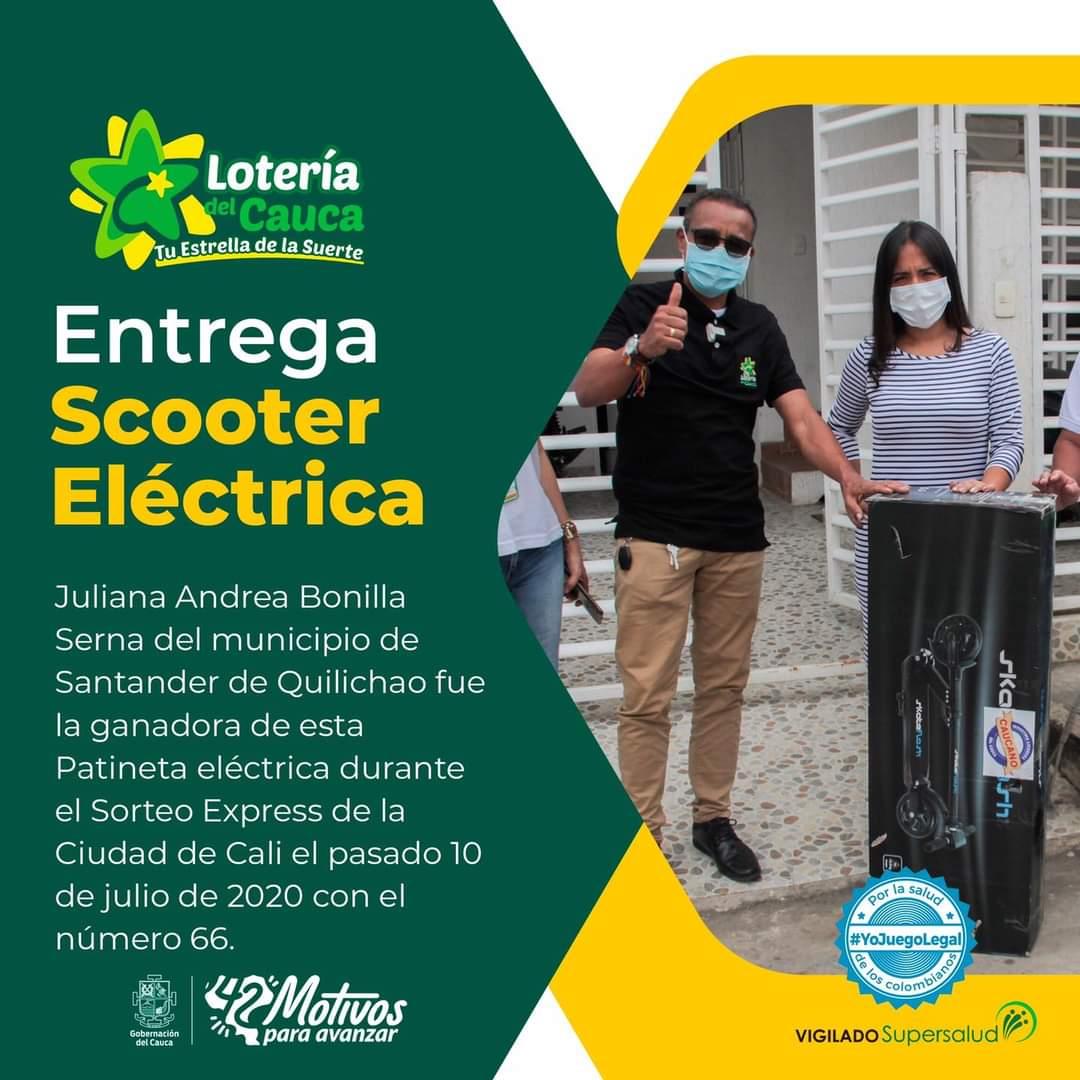 En Santander de Quilichao Cauca Lotería del Cauca entregó la Scooter Eléctrica Starker Lite.