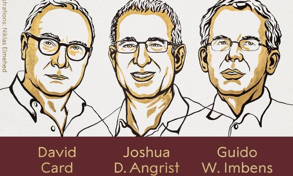 El canadiense David Card, el estadounidense-israelí Joshua Angrist y el estadounidense-holandés Guido Imbens, obtuvieron  el  Nobel de Economía.